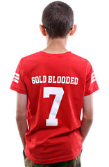 Gold Blooded Legends :: 7 (Youth Unisex Red Tee)