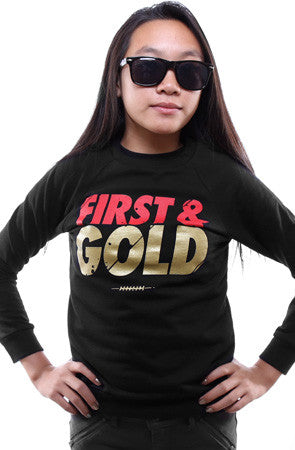 First and Gold (Youth Unisex Black Crewneck Sweatshirt)
