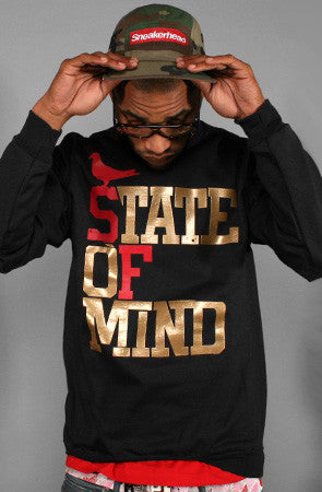 State of Mind (Men's Black/Red/Gold Crewneck Sweatshirt)