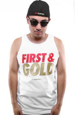 First and Gold (Men's White Tank)