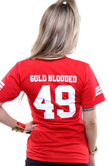 Gold Blooded Legends :: 49 (Women's Red V-Neck)
