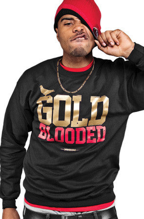 GOLD BLOODED Men's Black/Red Crewneck Sweatshirt