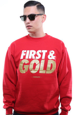 First and Gold (Men's Red/Gold Crewneck Sweatshirt)