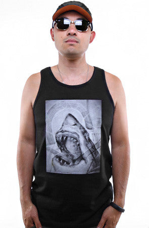 Cukui X Adapt :: Shark Sketch (Men's Black Tank)