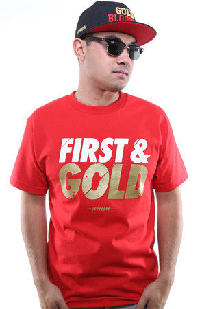 First and Gold (Men's Red Tee)