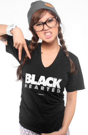 Black Hearted (Women's Black V-Neck)