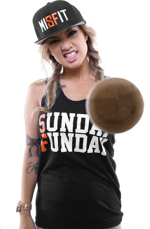 Sunday Funday (Women's Black/Orange Tank Top)