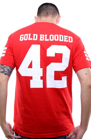 Gold Blooded Legends :: 42 (Men's Red Tee)