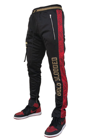 SAVS x Adapt :: Gold Blooded Chiefs (Men's Black/Red Track Pants)