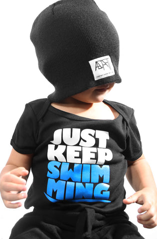 Keep Swimming (Baby Black Onesie)
