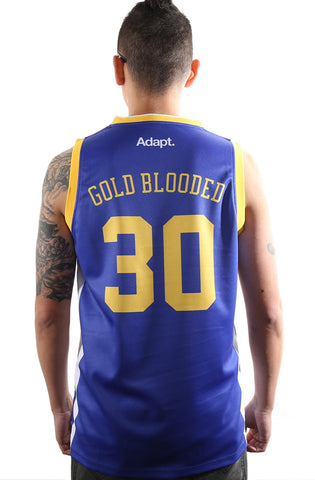 Gold Blooded 30 (Men's Royal Basketball Jersey)