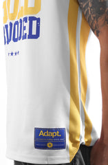 Gold Blooded 23 (Men's White Basketball Jersey)