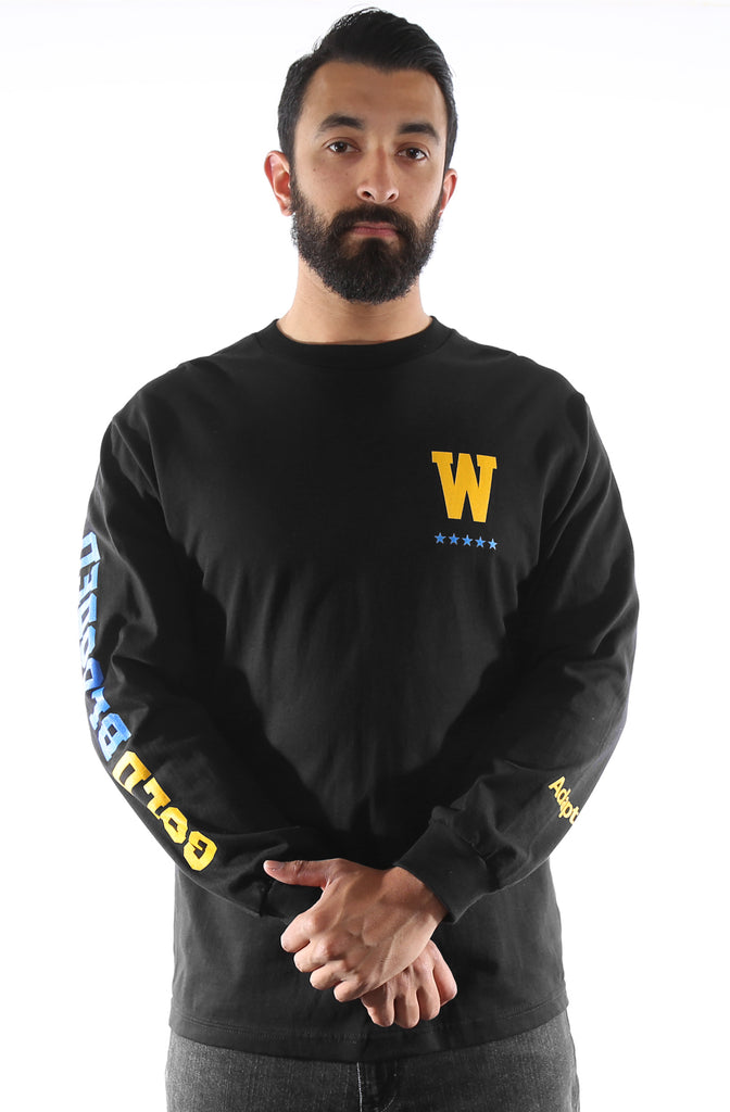 GOLD BLOODED DSE (Men's Black/Royal Long Sleeve Tee)