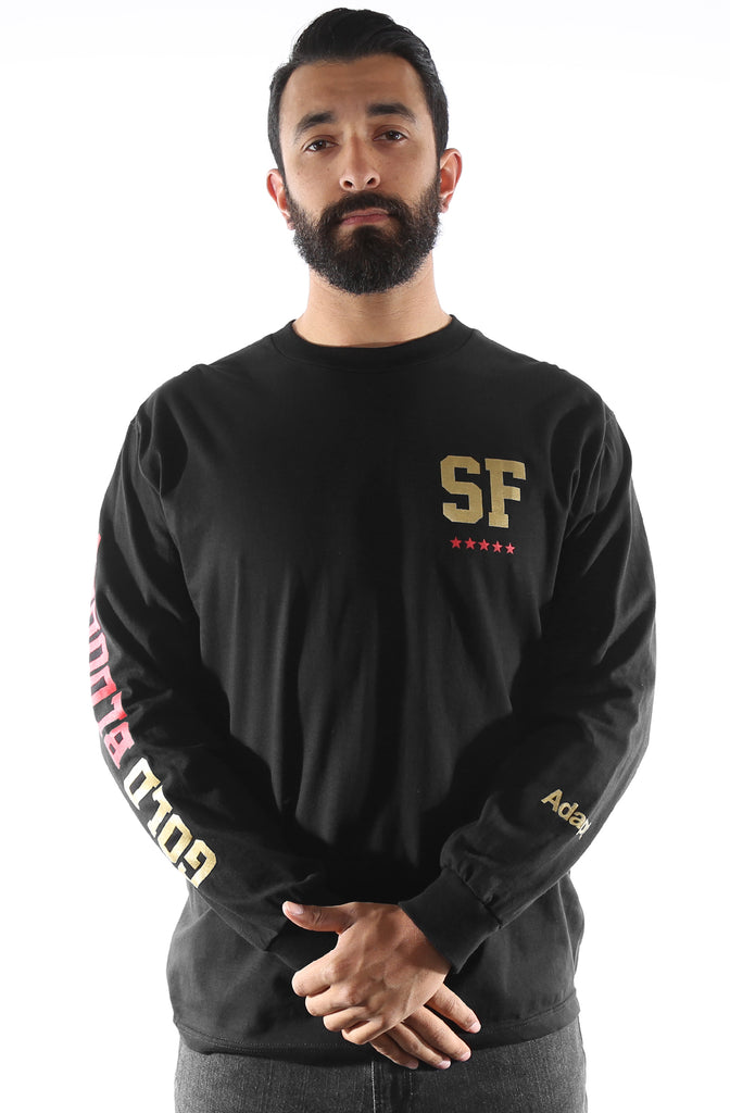 GOLD BLOODED NSE (Men's Black/Red Long Sleeve Tee)