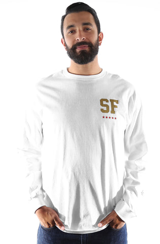 GOLD BLOODED NSE (Men's White/Red Long Sleeve Tee)