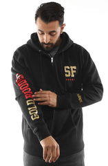 GOLD BLOODED NSE (Men's Black/Red Zip Hoody)
