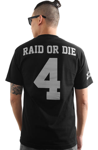 Raid or Die Outlaws :: 4 (Men's Black Tee)