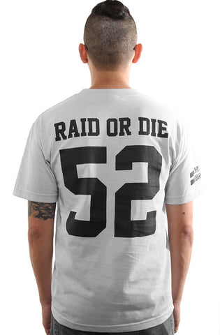 Raid or Die Outlaws :: 52 (Men's Silver Tee)