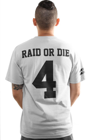 Raid or Die Outlaws :: 4 (Men's Silver Tee)