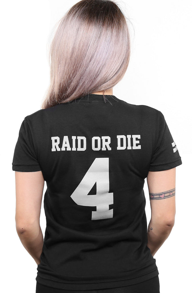 Raid or Die Outlaws :: 4 (Women's Black V-Neck)