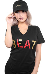 Beat LA (Women's Black/Red V-Neck)