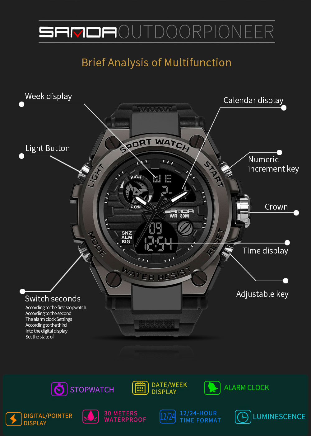 analog watch with alarm