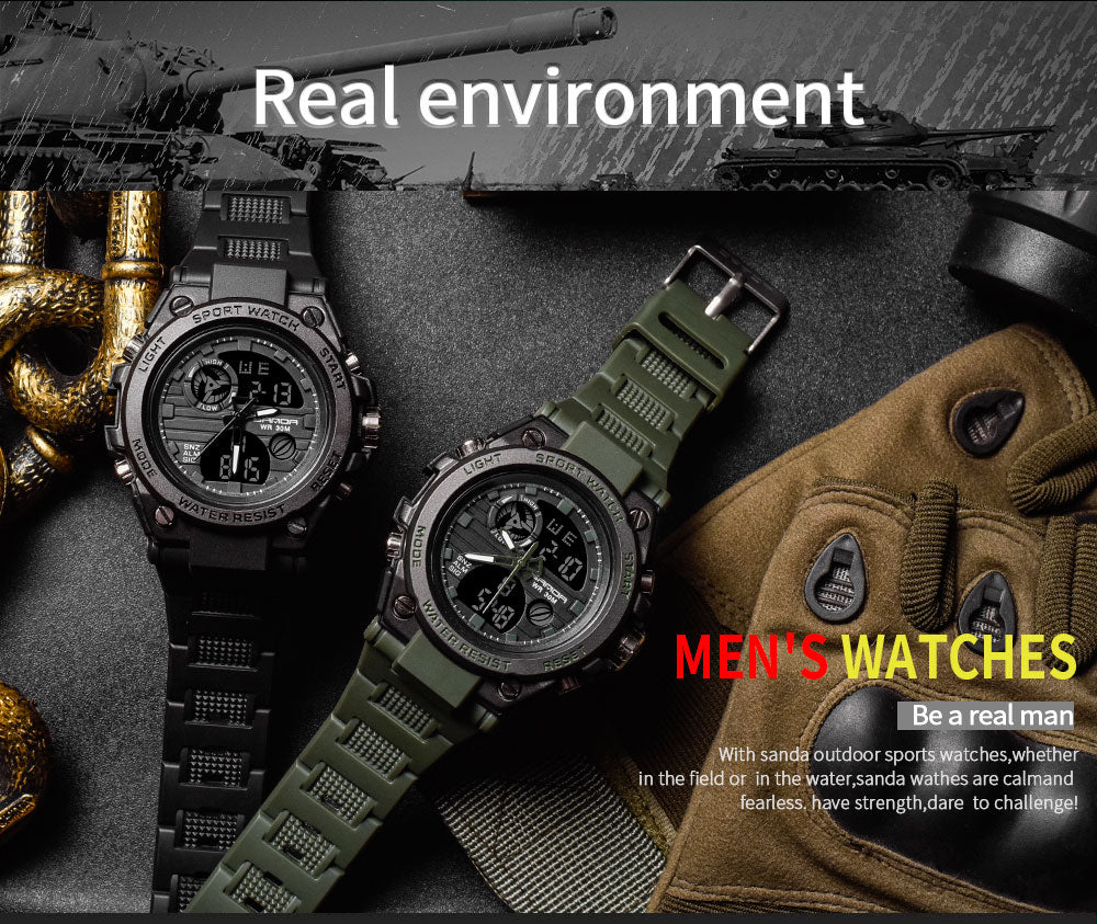 combination digital analog watch