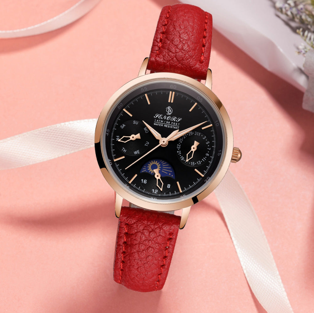 red leather strap watches