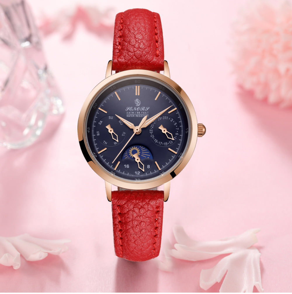 red leather band watch