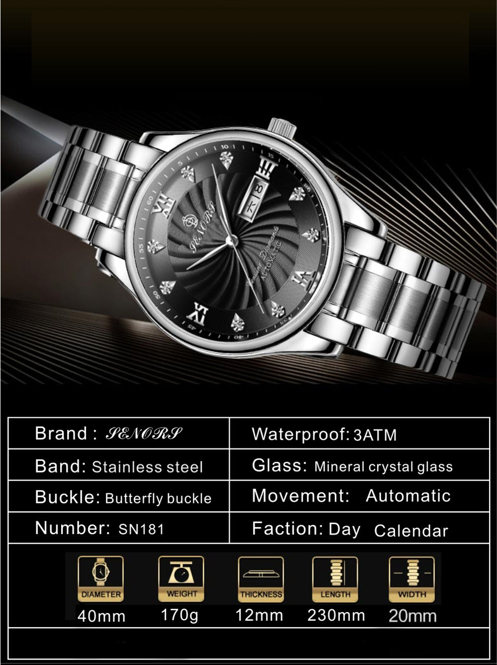 day date automatic watches for mens