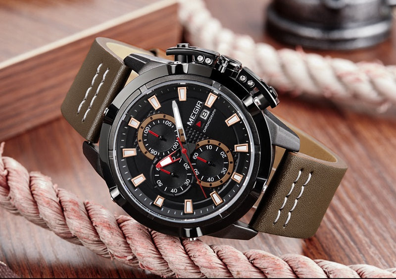 black dial brown strap