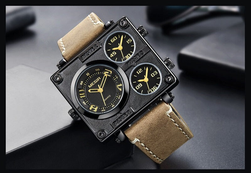 mens black square watch