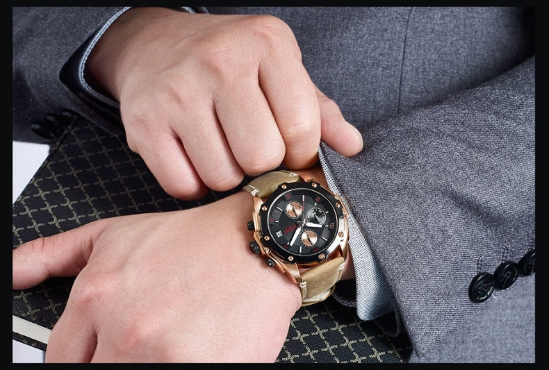 black dial brown leather strap watch