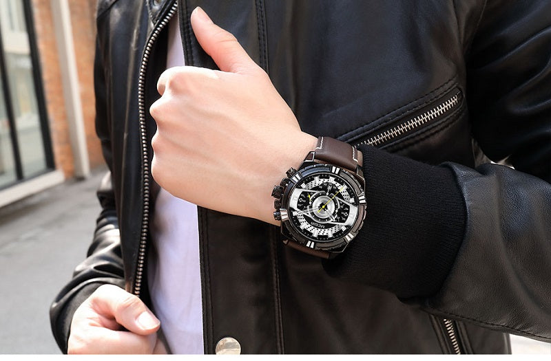 mens leather strap watches sale