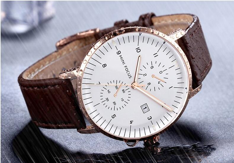 mens watch brown leather band white face