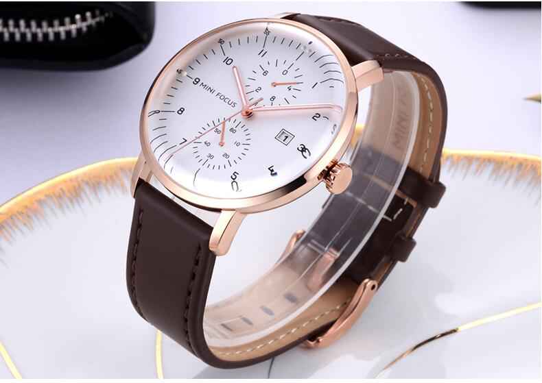 mens brown leather watch white face