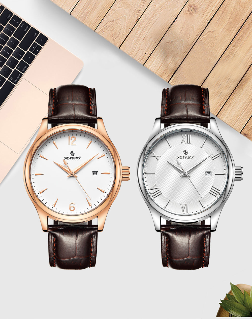 white face watch with leather band