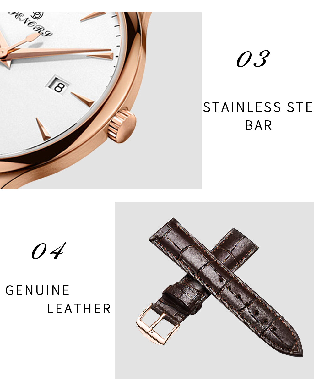 brown leather watch white face