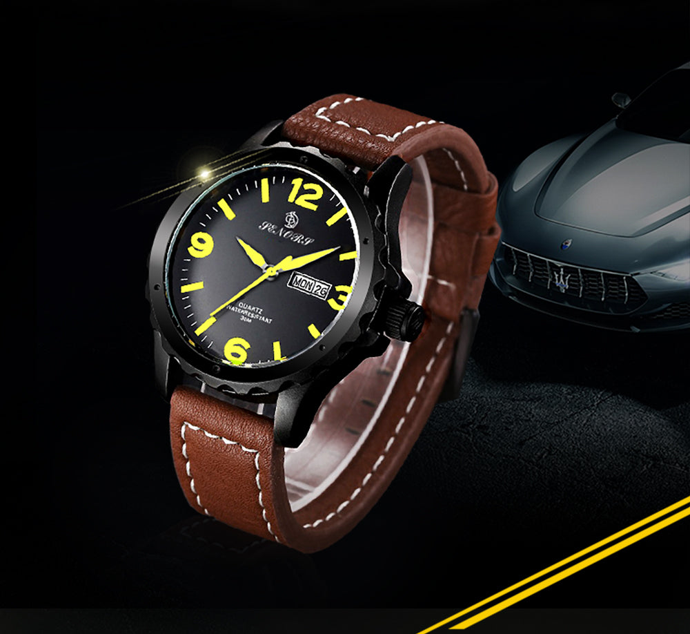 leather analog watch
