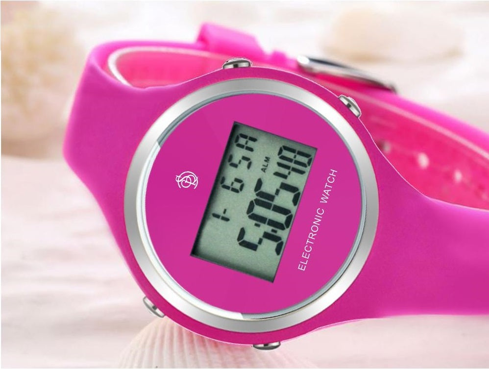 pink watch digital