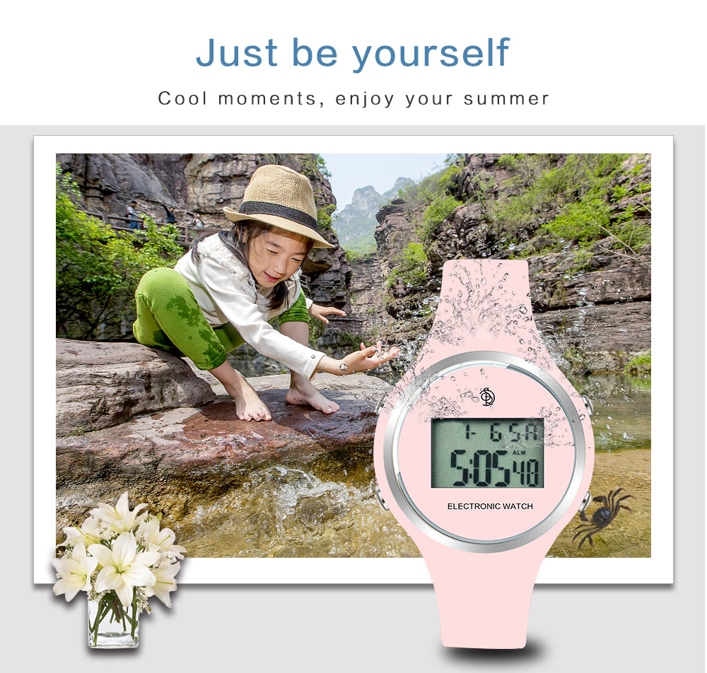 pink digital watch