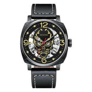 SENORS Automatic Watch Men Leather Strap Skeleton Mechanical Luminous Skull Watches Skeleton Top Brand Luxury Dropshipping Wholesale