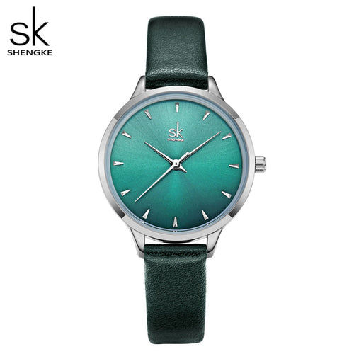 green face watch leather band