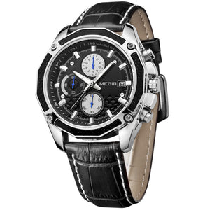 mens chronograph watches leather strap