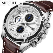 mens chronograph watches leather band