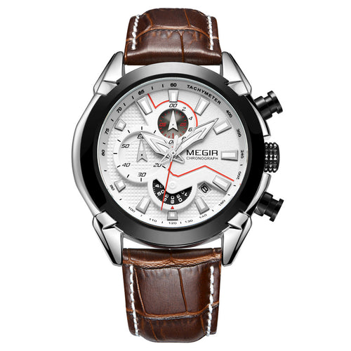 mens watch white face brown leather