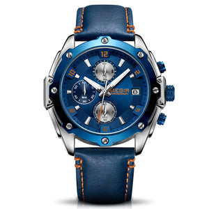 blue dial leather strap watch