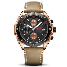 black face watch with brown strap