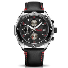 black dial black leather strap watch