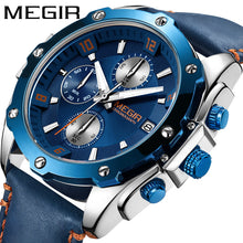 mens watch blue dial leather strap